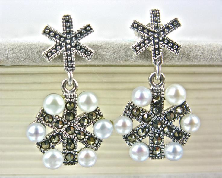 925 Sterling Silver Pearl Marcasite Snowflake Earrings USD26.00