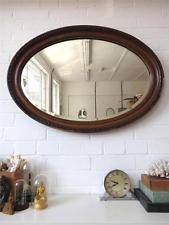 Vintage Oval Bevelled Edge Wall Mirror Art Deco Wooden Frame Bevel Edge Mirror