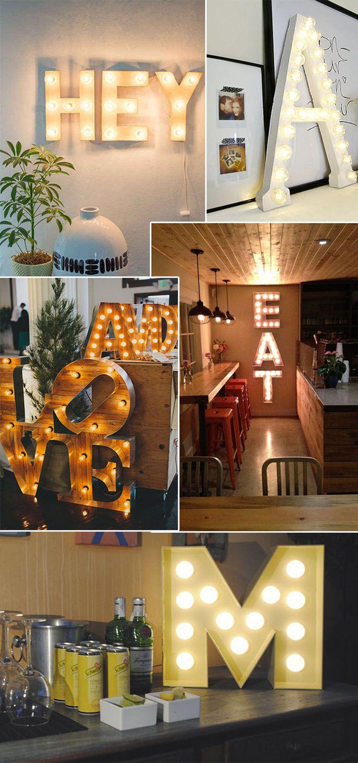 Inspirações com letras luminosas. Ultimamente temos visto algumas coisas se destacarem no mundo da decoração. Um exemplo disso, são as letras luminosas.