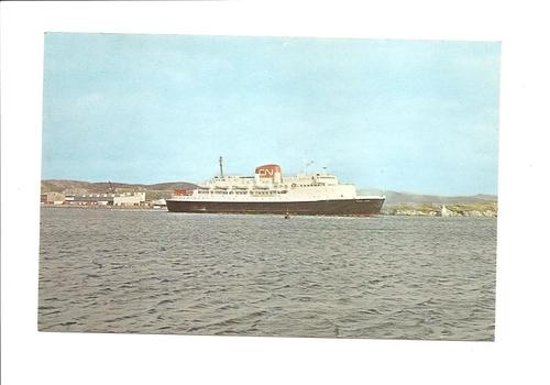 M.V William Carson - Car Ferry - Port Aux Basques NF- North Sydney NS postcard