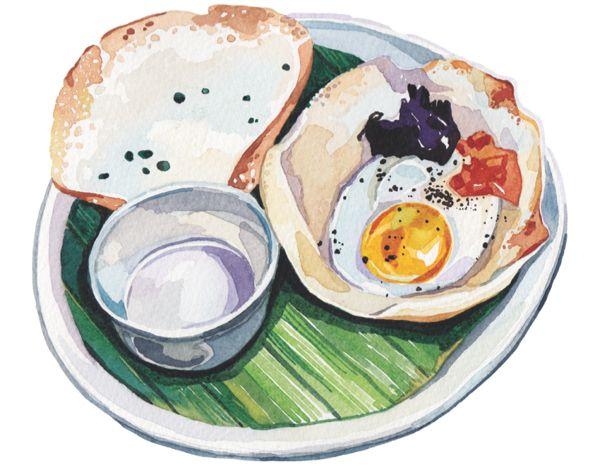 fried egg watercolour illustration banana leaf