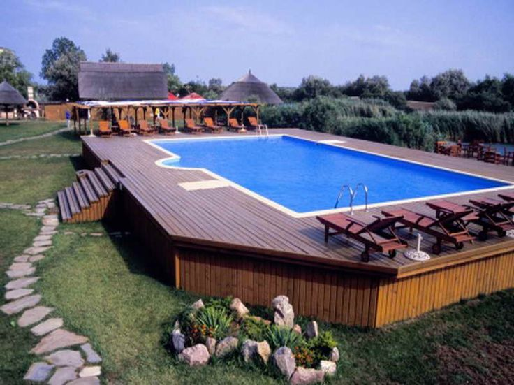 Pool Deck Ideas For Inground Pools semi inground pools home garden swimming pool semi inground pools for your above ground pool decksabove Above Ground Pools Designs With Stone Path Pools Pinterest Backyards Ground Pools And Search