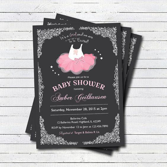 tutu baby shower invitation baby girl shower by crazylime tutu