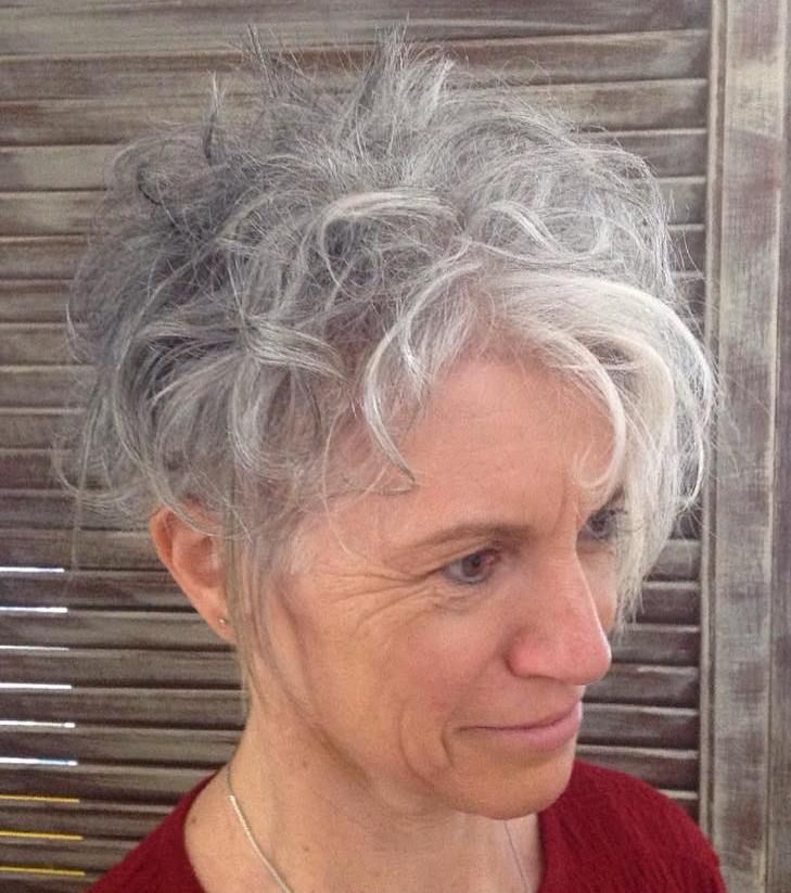Airy Messy Gray Hairstyle For Shorter Hair Gorgeous Gray Hair Curly Hair Styles Haircuts For Curly Hair