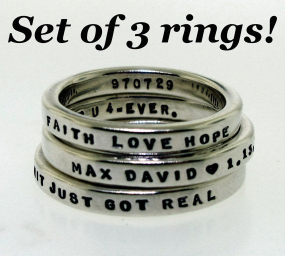 Personalized Rings Set of 3 Smooth Like Butter by KathrynRiechert, $110.00