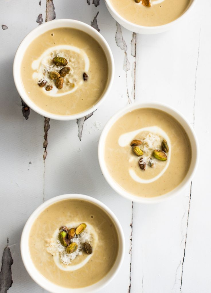 Soup isn't just for the wintertime. This creamy spring cauliflower and pistachio soup is just bursting with bright spring and summer flavors!