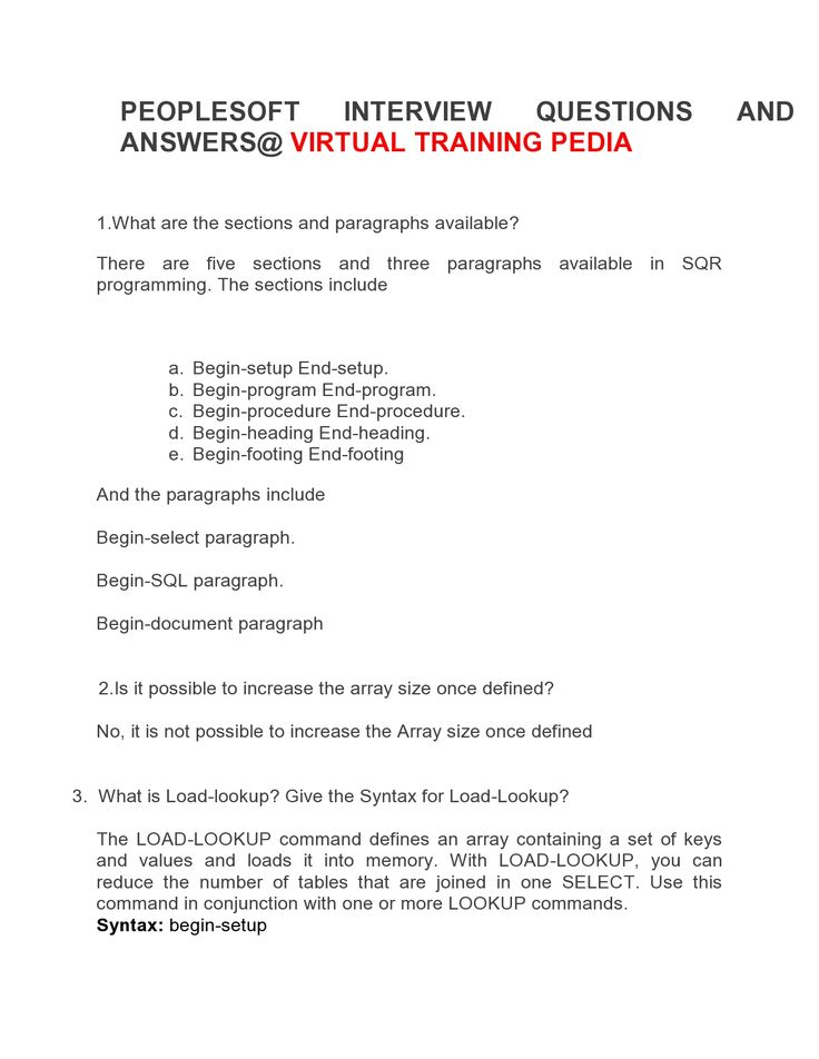 Here Are Some Interivew Questions On Peoplesoft.VTP Provides Peoplesoft  Online Training.Join VTP. Interview QuestionsJoin