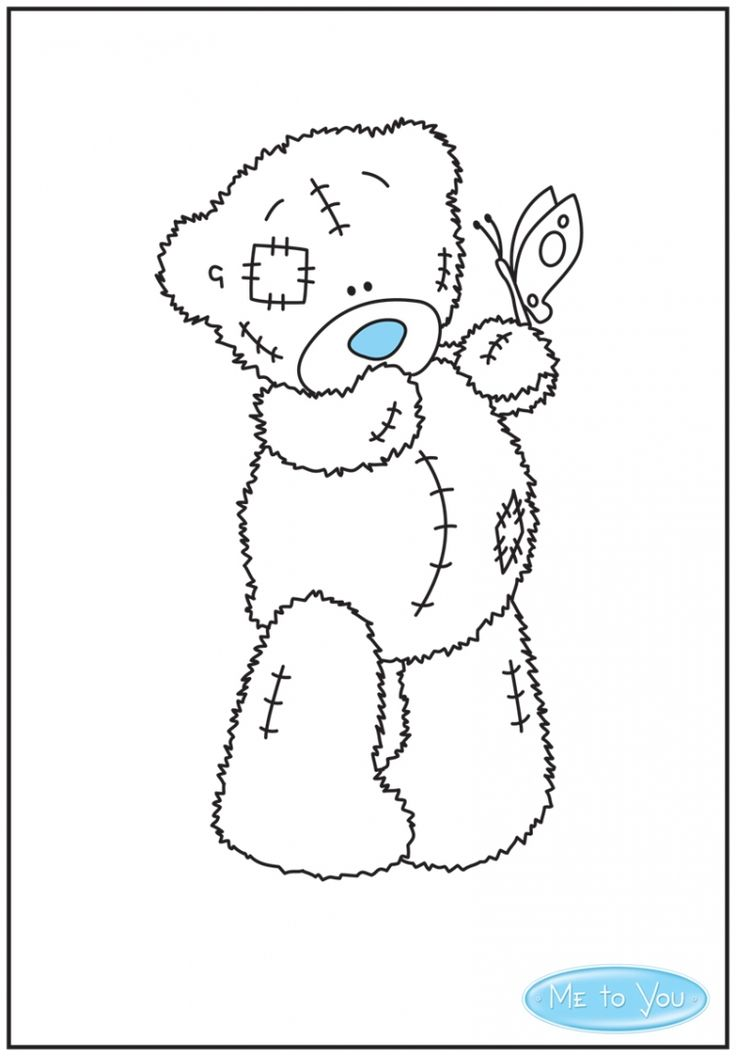 Colour in Tatty Teddy holding a butterfly