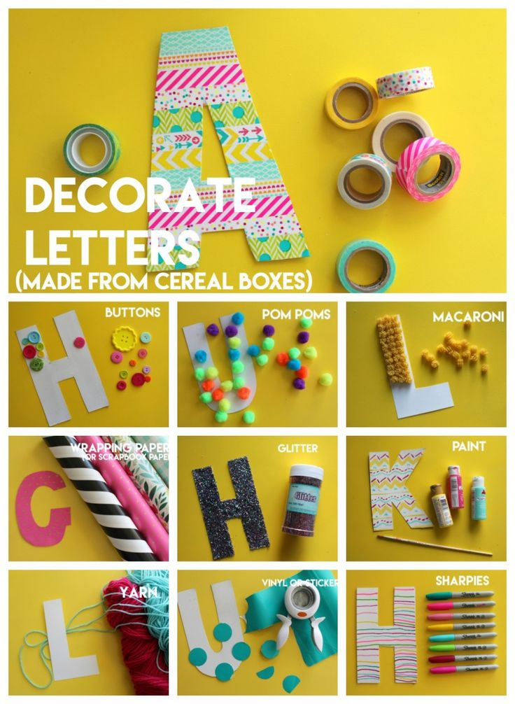 decorate letter made from cereal boxes Great kids crafts