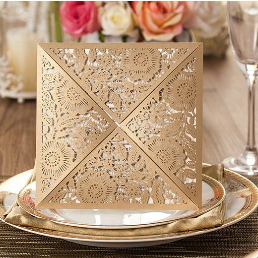 inexpensive golden floral laser cut wedding invitations EWWS016 as low as $2.09
