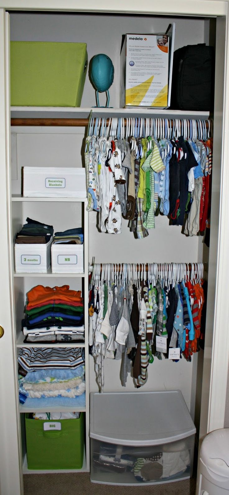 "What I want for our closet"" Two Hanger Rods Built-In Pull-Out Laundry Hamper, with removable laundry sack Shelves and space for bins"
