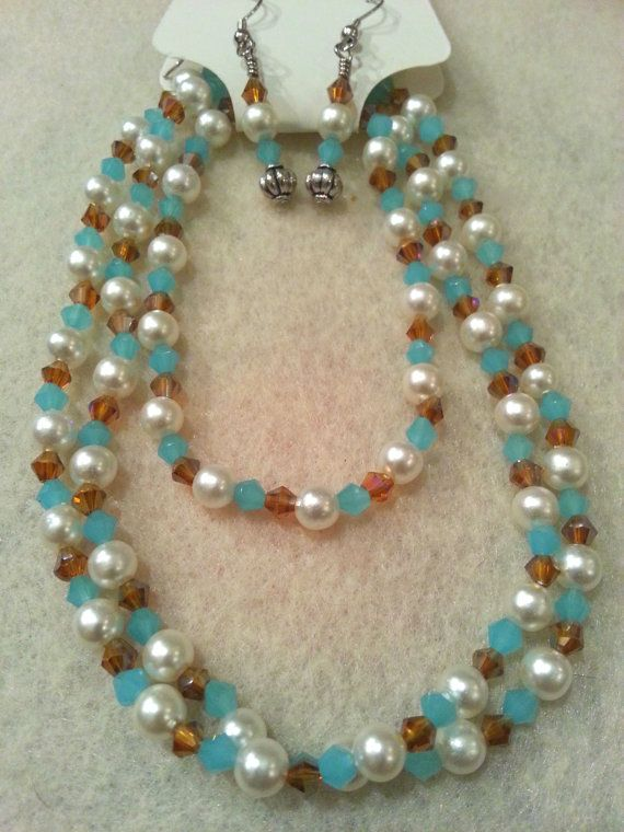 Elegant Set  Blue & Brown Swarovski Crystal by FrantasticCreationz, $20.00