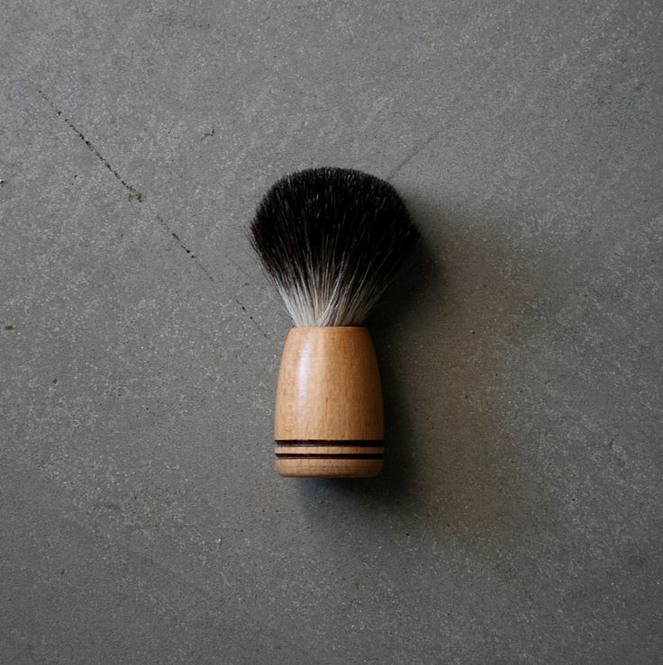 handcrafted shave brush - beechwood, pure black badger bristle