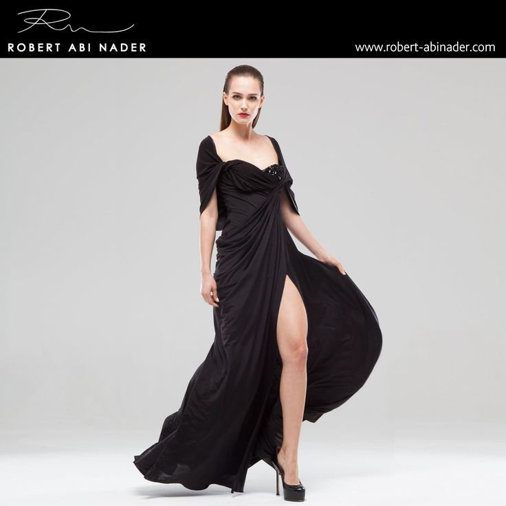 Robert Abi Nader - Ready to Wear - Spring Summer 2015 Long and fitted draped dress in black jersey. #robertabinader #readytowear #dress #jersey #black #wb #draped #fitted #fashion #crep #embroidered #skin #tulle #fashionista #stylish #springsummer #lebanon #paris #london #beirut #princess #beauty #beautiful