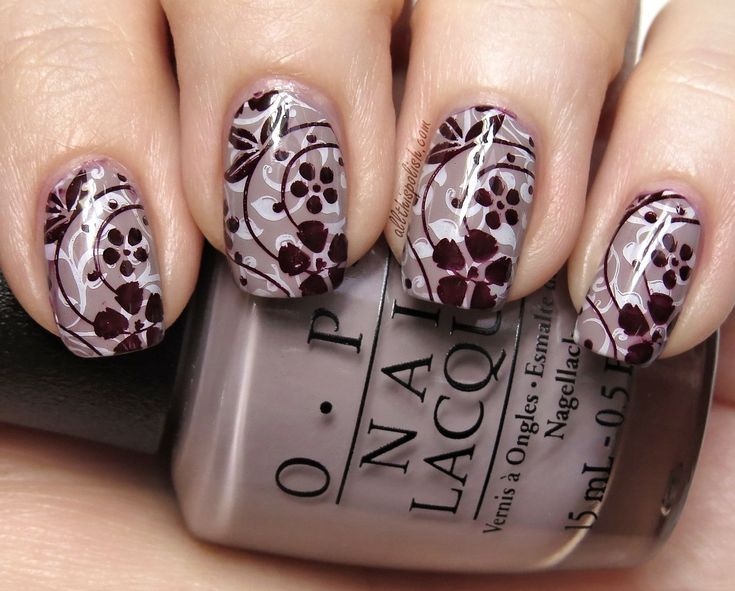 OPI Taupe-less Beach and Floral Double Stamping - All This Polish