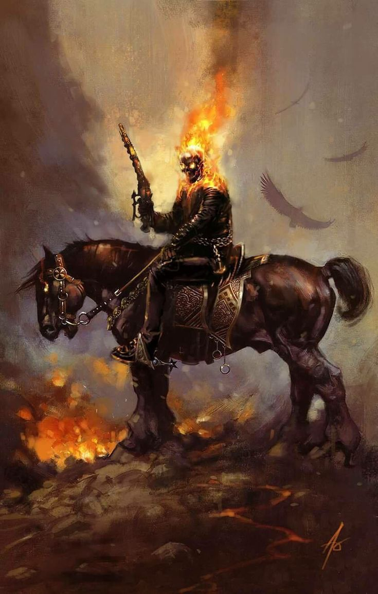 Ghost Rider on horseback