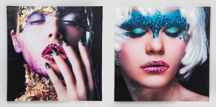 Πίνακας Glam face Lady 100x100 Assorted Ψηφιακή εκτύπωση σε καμβά, περασμένη με ακρυλικό.