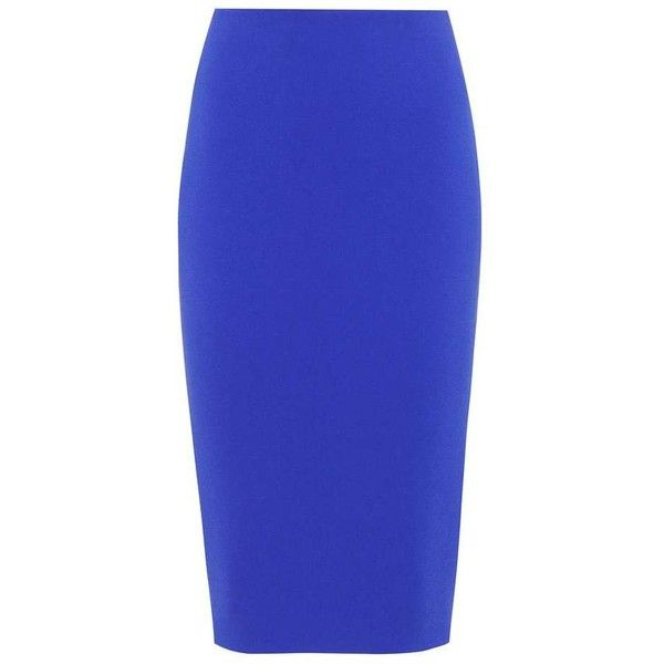 Victoria Beckham Pencil Skirt ($1,015) ❤ liked on Polyvore featuring skirts, blue, blue pencil skirt, knee length pencil skirt, pencil skirts, victoria beckham skirt and blue skirts