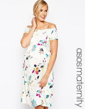 ASOS Maternity Midi Skater Dress in Bird Print