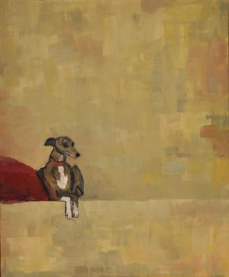 Rodgerson,Jenny Whippet on red cushion No.2 Oil on Board - Oil on panel Image Size: 30 x 25.5cm