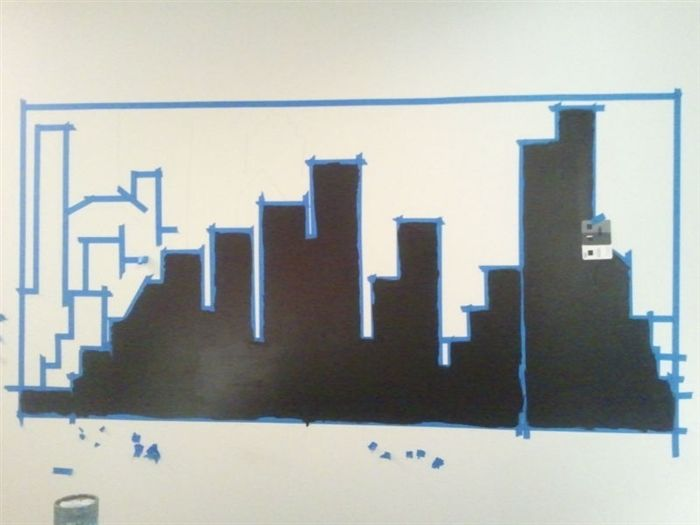 DIY Painted Skyline With Shelving. Gotham CityWall MuralIkeaBatmanDesigners Part 39