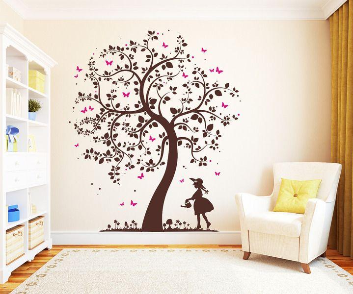 Wandtattoo Baum Mit Mädchen 2farbig Schmetterlinge. Wandtattoo  KinderWandtattoo BaumBaum TattooDekoration KinderzimmerKinderzimmer  GestaltenBaby ...
