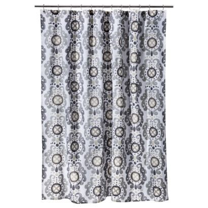 Threshold Neutral Scroll Shower Curtain From Target The