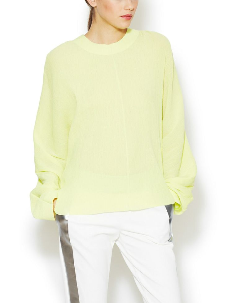 Crinkle Silk Blend Top by Les Chiffoniers at Gilt