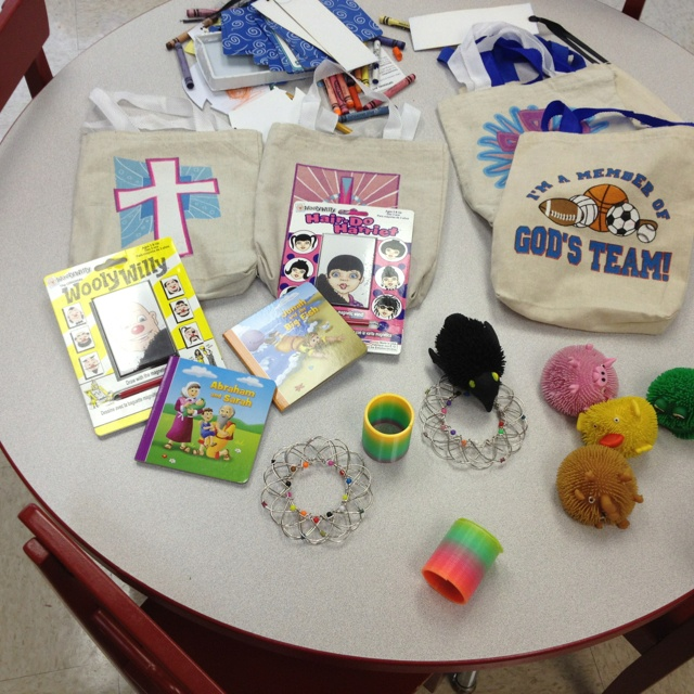 """""""busy bags"""" for children during church."""