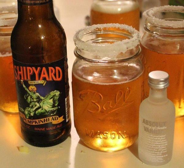 Pumpkin beer + a shot of whipped cream flavor vodka = pumpkin pie beer. Happy autumn!
