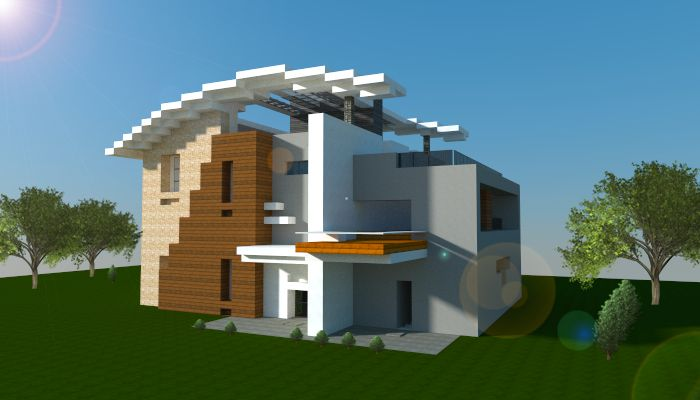 Modern house i made with redstone devices download link for Minecraft modernes haus 20x20