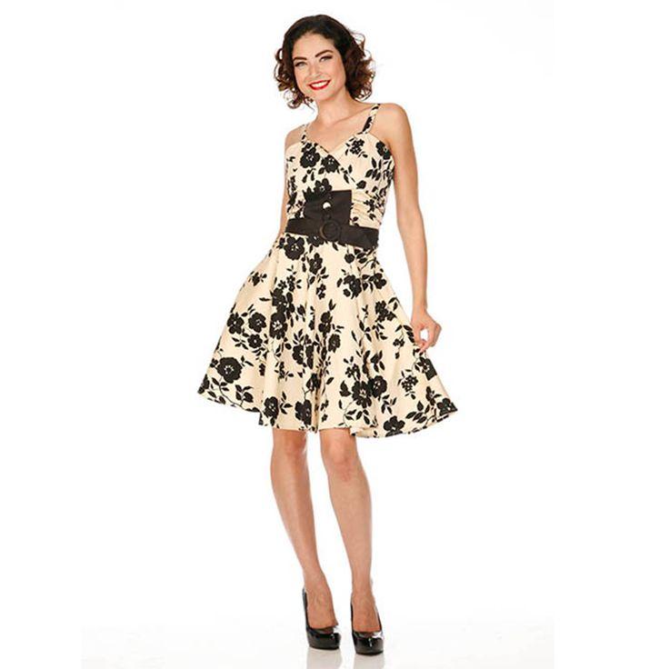 Voodoo Vixen Beige Black Floral 50s Vintage Rockabilly Flared Swing Party Dress | eBay
