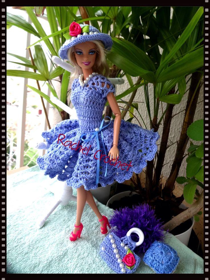 #Doll #Crochet #Vestido #Dress #Barbie #Chapéu #Hat #RaquelGaucha #Festa #Party