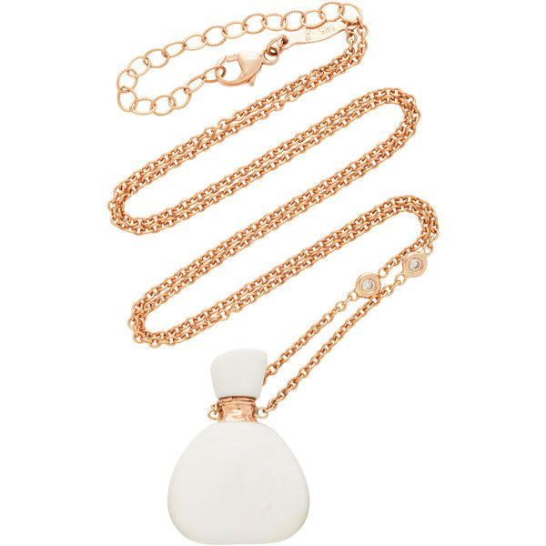 Jacquie Aiche Small Triangle White Agate Potion Bottle Necklace ($2,965) ❤ liked on Polyvore featuring jewelry, necklaces, white, jacquie aiche, 14 karat white gold necklace, white agate jewelry, triangle jewelry and agate necklace