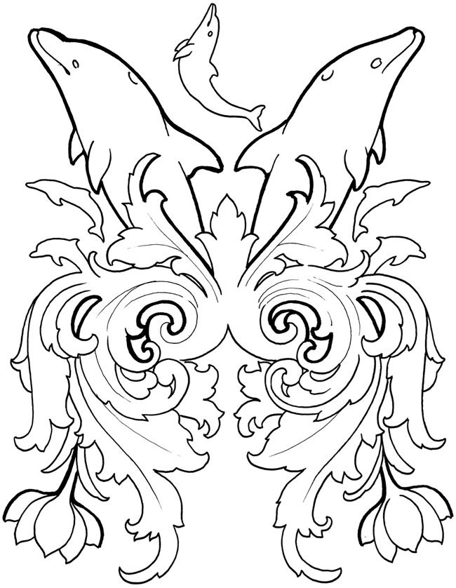 Dover Dolphin Dream Designs Coloring Book Sample Page 3 Of 4