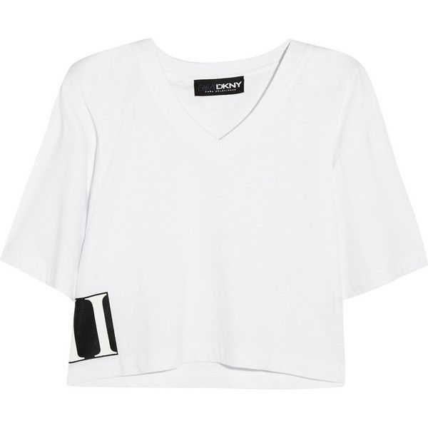 DKNY + Cara Delevingne cropped cotton-jersey T-shirt (£47) ❤ liked on Polyvore featuring tops, t-shirts, shirts, white, white jersey, white crop tee, crop shirts, jersey crop top and tee-shirt