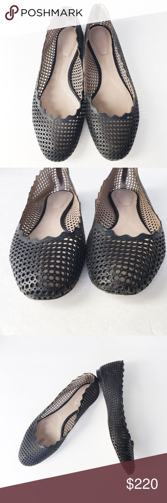 Chloe Perforated Leather Flats Black leather flats by Chloe with scallop detail and Perforated texture. Only signs of wear are to bottoms and a bit inside the shoe, the black leather is superb! Chloe Shoes Flats & Loafers