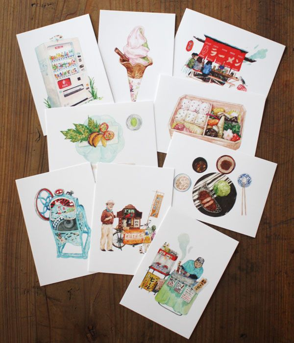 """Lovely postcards with illustrations from """"21 Days in Japan: An Illustrative Study of Japanese Cuisine""""which isa collection of one hundred..."""