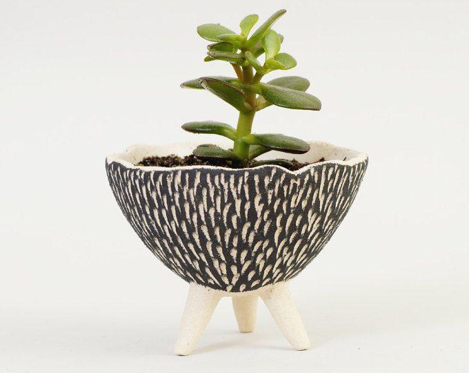 Jardinera de cerámica blanco y negro ~ textura cerámica cerámica planta maceta moderna plantador plantador de cerámica Cactus plantador ~ tazón de cerámica hecha a mano Reino Unido