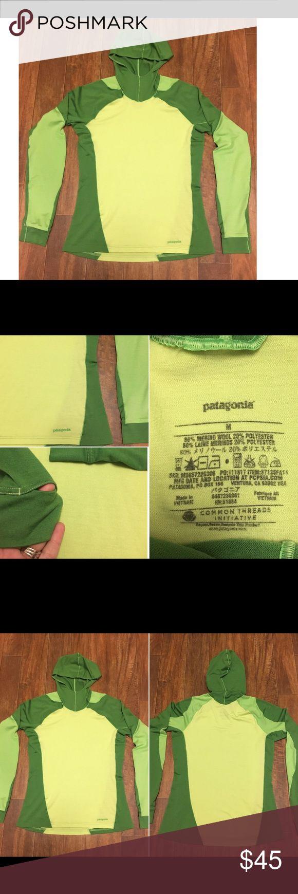 Patagonia hoodie sweatshirt Pre owned• no stains or holes• has thumb holes on sleeves • size Medium • 80% Merino wool 20% polyester • in like new condition! Patagonia Tops Sweatshirts & Hoodies
