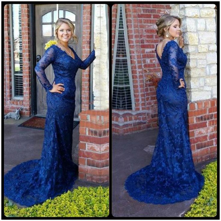 Find a Vintage Lace Plus Size Prom Dress 2016 V Neck Long Sleeve Royal Blue Prom Dresses Mermaid V Back Pretty Party Gowns Online Shop For U !