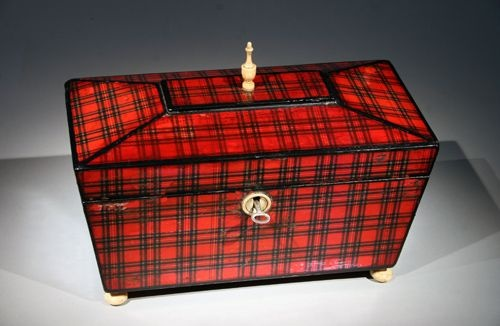 Tartanware Tea Caddy with ivory finial & feet...2 die for!