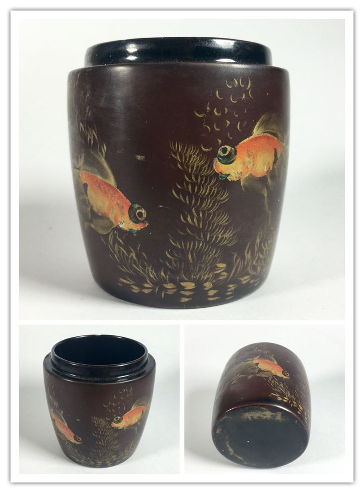 Japanese lacquerware box (missing lid) with goldfish decorations.