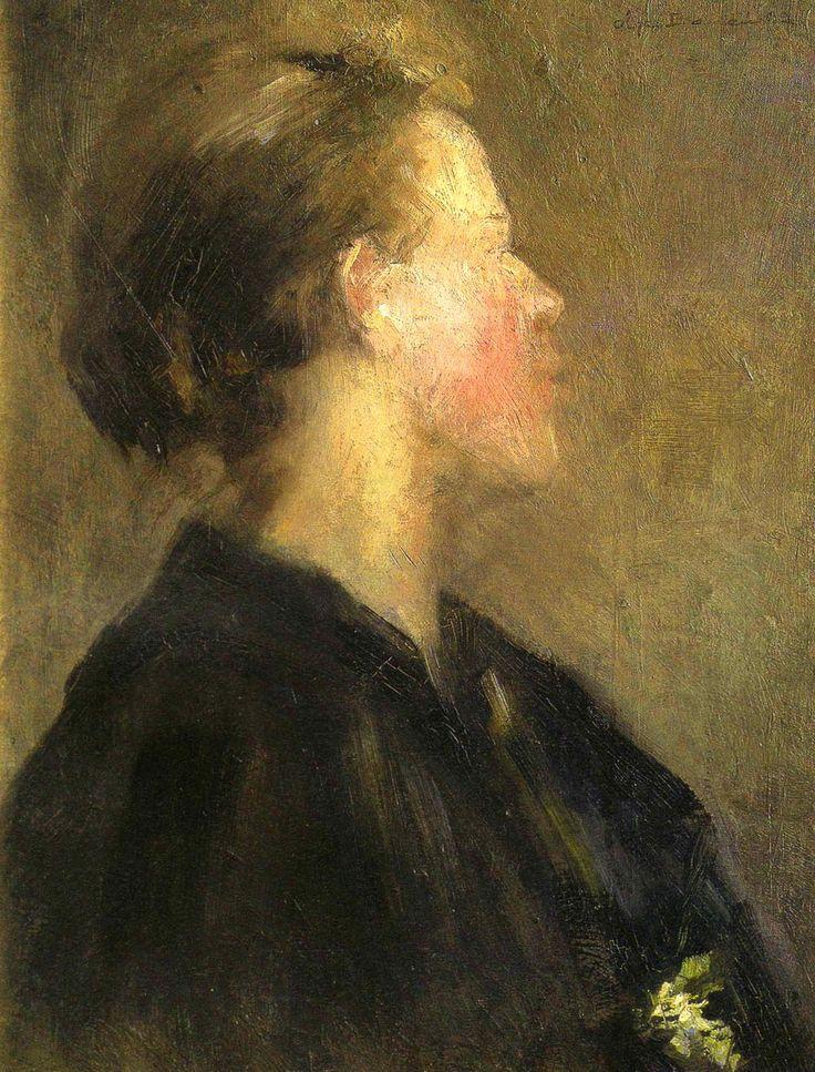 """Olga Boznańska,  """"Portret kobiety"""", ok. 1890, olej na tekturze, 34 x 26 cm, własność prywatna"""