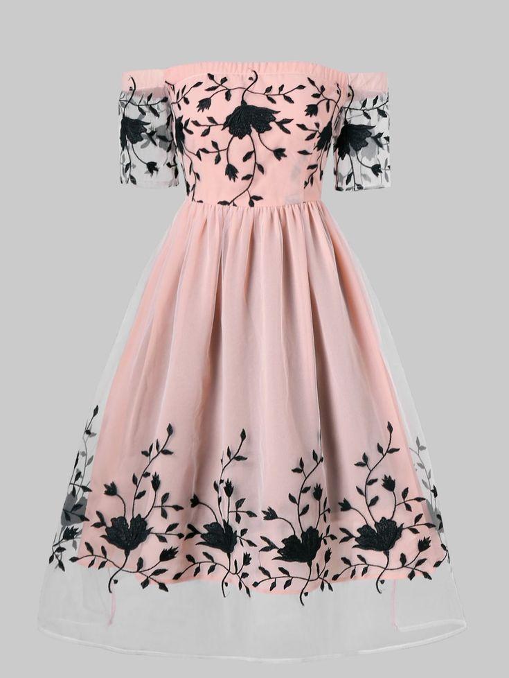Robe de soirée brodée à épaules dénudées – Rose Pâle XL  #brodee #denudee…