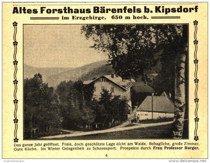 Original-Werbung/Anzeige 1915 - ALTES FORSTHAUS BÄRENFELS BEI KIPSDORF - ca. 120 x 90 mm