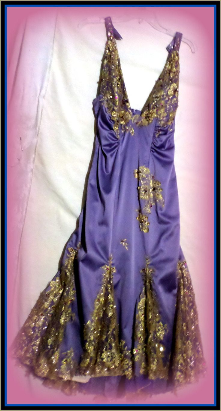Pretty west side story purple and metalic gold with sparkling sequins and rhinestones vintage dress great condition size 7-8  prom dress by WearMeOutTonight on Etsy