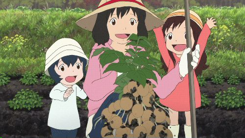 wolf children. don't be tricked by the gif. this is one of the saddest movies ive ever watched