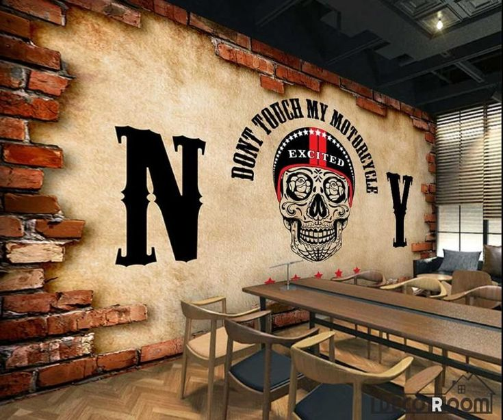 Broken Brick Wall Black Skull Drawing Restaurant Art Wall Murals Wallpaper Decals Prints Decor