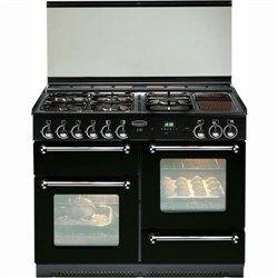 Rangemaster 74300 - 110cm LPG Gas Range Cooker with Porthole Doors in Black and Chrome